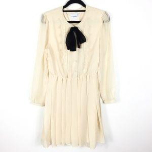 Asos Cream Pleated Lace Sheer Long Sleeve Dress 8P